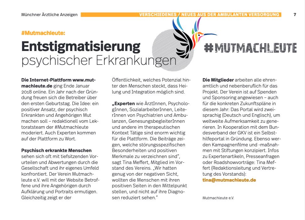 Münchner Ärztliche Anzeigen Mutmachleute